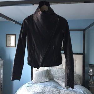 EUC Doma Sz Sm Crop Moto Leather Jacket Silver HW